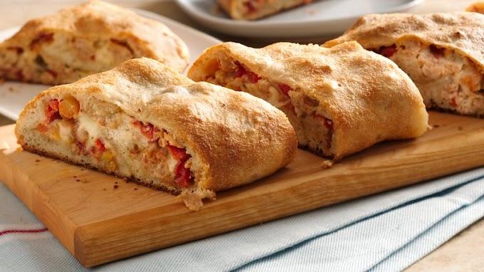 Chicken Bacon Ranch Stromboli #dinnerrecipe #food #amazingrecipe #easyrecipe
