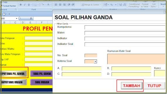 Download aplikasi pembuatan soal Essay dan PG mengunakan Excel Otomatis