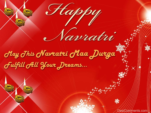 red background with gold text wish you happy navratri