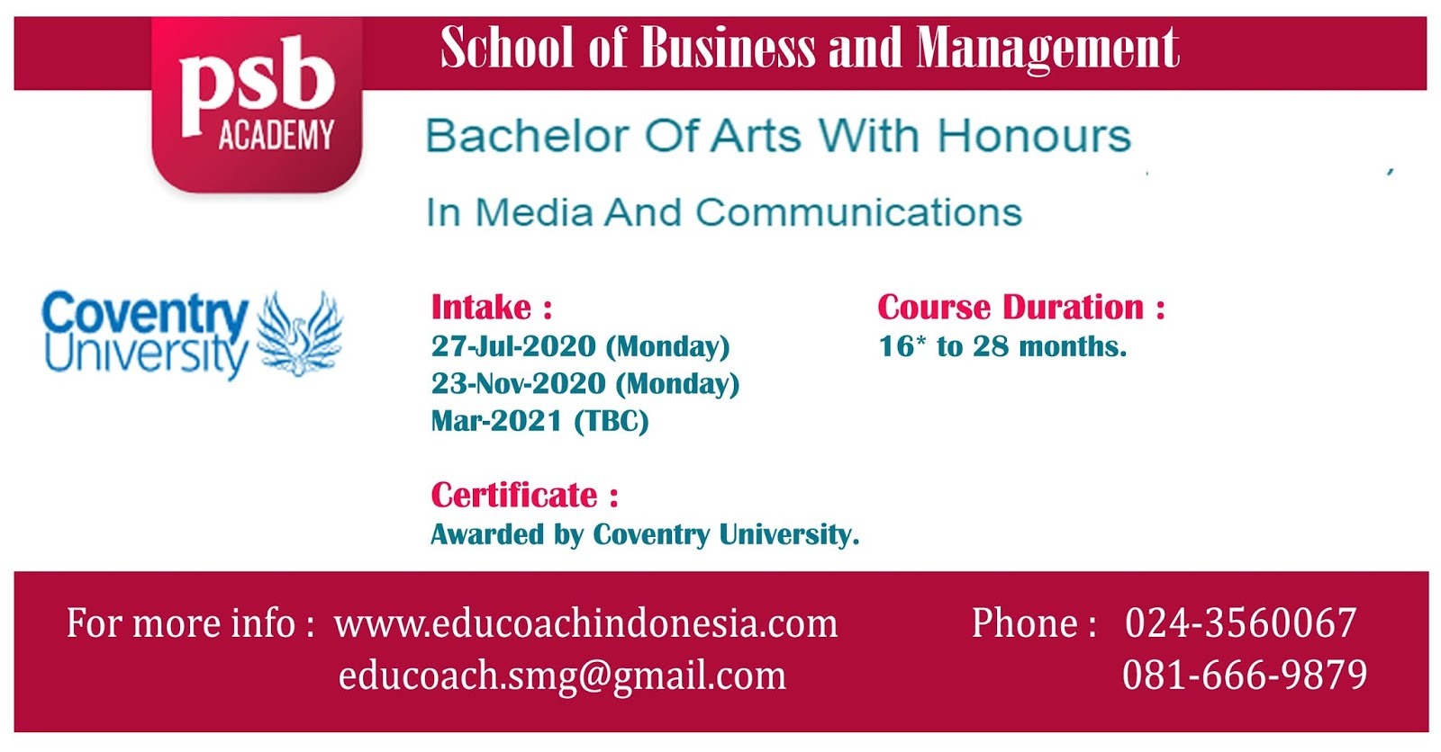 Bachelor Of Arts With Honours In Media And Communications | University of Coventry | PSB Academy Singapura