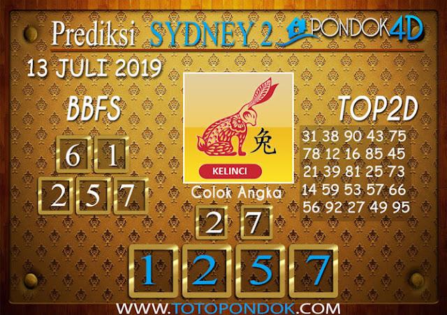 Prediksi Togel SYDNEY 2 PONDOK4D 13 JULI 2019