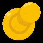 刺さった画鋲のイラスト(黄色)