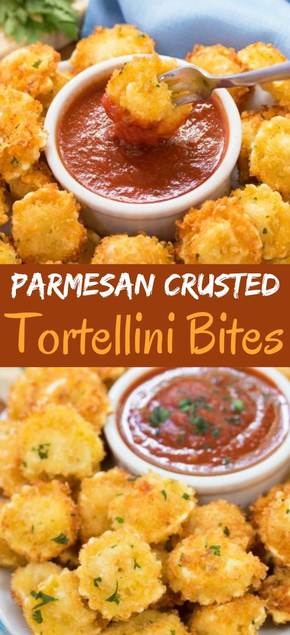 Parmesan Crusted Tortellini Bites #appetizers #recipes
