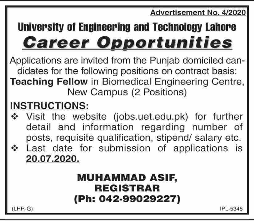Latest jobs in University Of Engineering & Technology (UET)2020