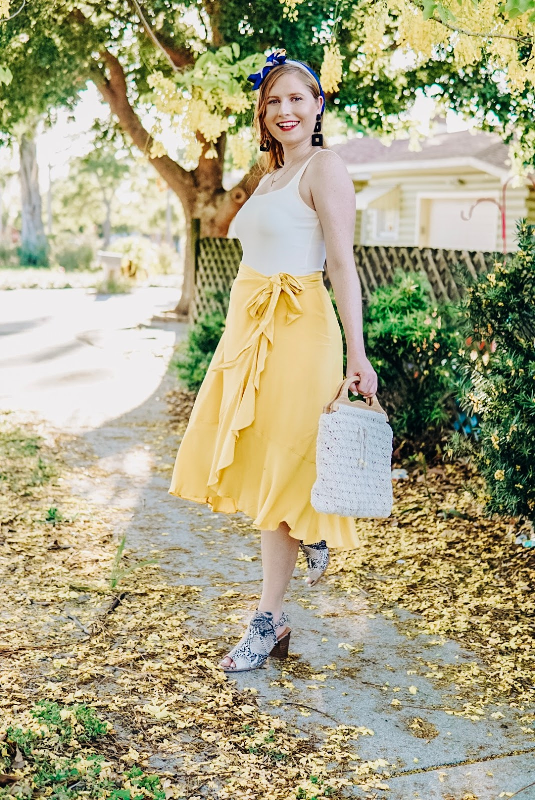 Styling a Casual Yellow Wrap Midi Skirt for Summer with Misred Outfitters | Affordable by Amanda Tampa Blogger