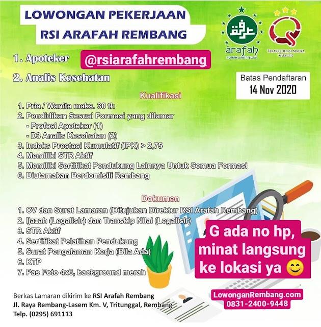 Lowongan Kerja Apoteker Analis Kesehatan Rumah Sakit Islam Arafah Rembang