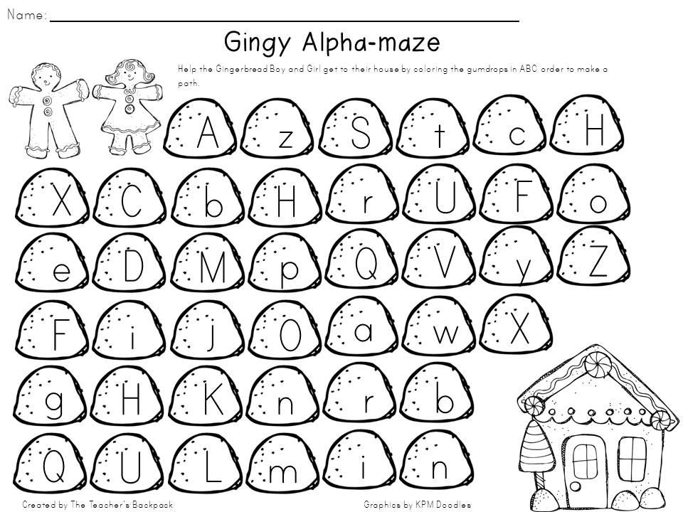 The Teachers Backpack December 2012 – Abc Order Worksheets Kindergarten