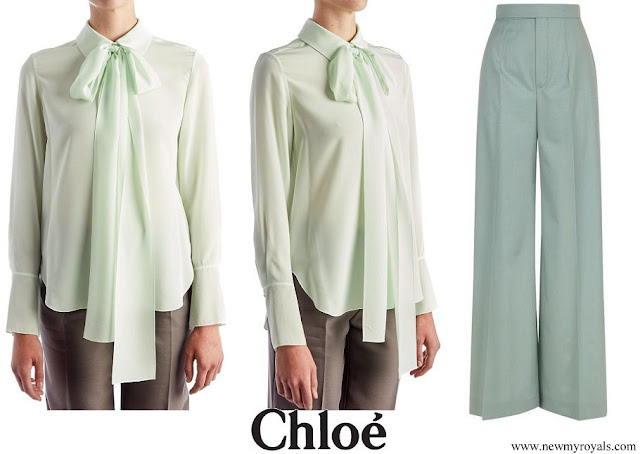 Queen Rania wore Chloe Green Tie Neck Blouse and Chloe Wide Leg Wool Trousers