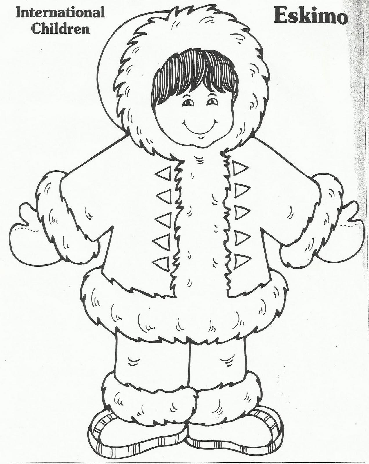 Eskimo Winter Sketch Coloring Page