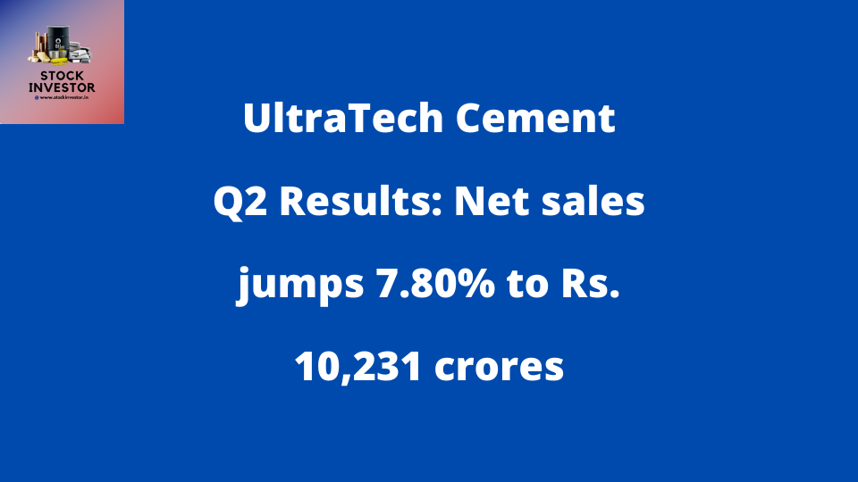 UltraTech Cement Q2 Results: Net sales jumps 7.80% to Rs. 10,231 crores