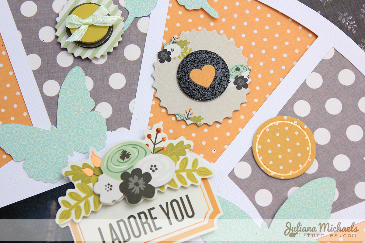 I Adore You Scrapbook Page by Juliana Michaels using 3 Birds Studio Graceful Season Collection and 17turtles.com Color Wheel Digital Cut File