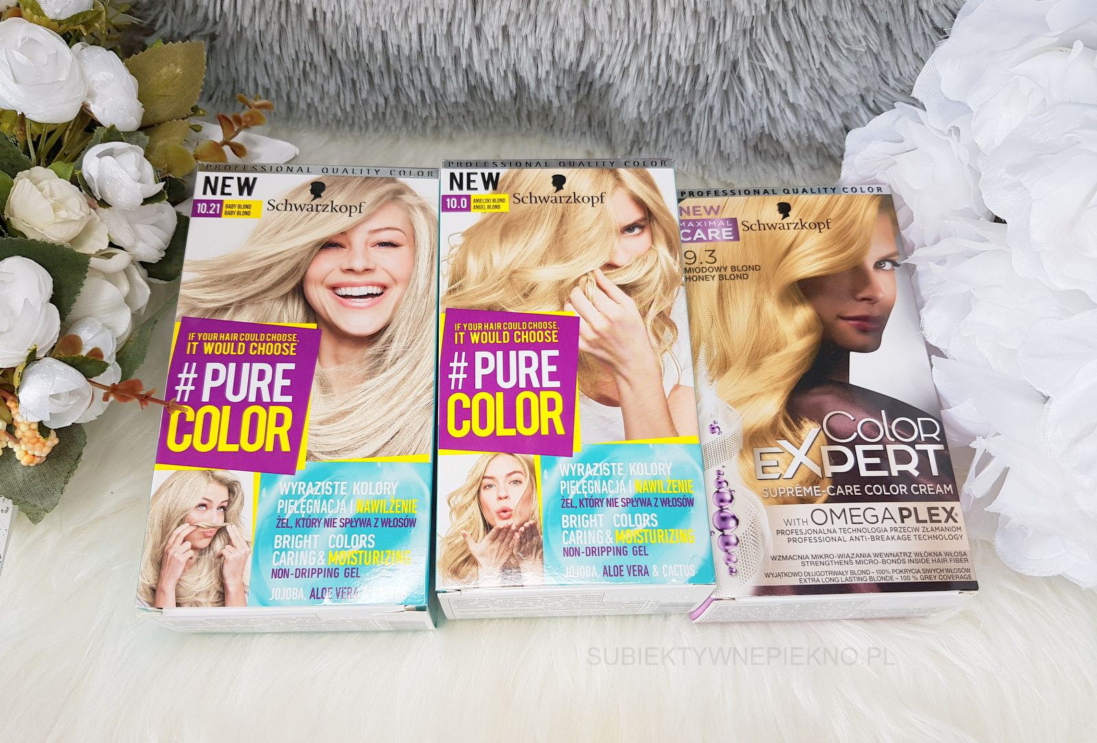 Co kupiłam na promocji w Rossmannie na produkty do włosów marzec 2018 - farby do włosów Schwarzkopf Pure Color Baby Blond 10.21 i Anielski Blond 10.0