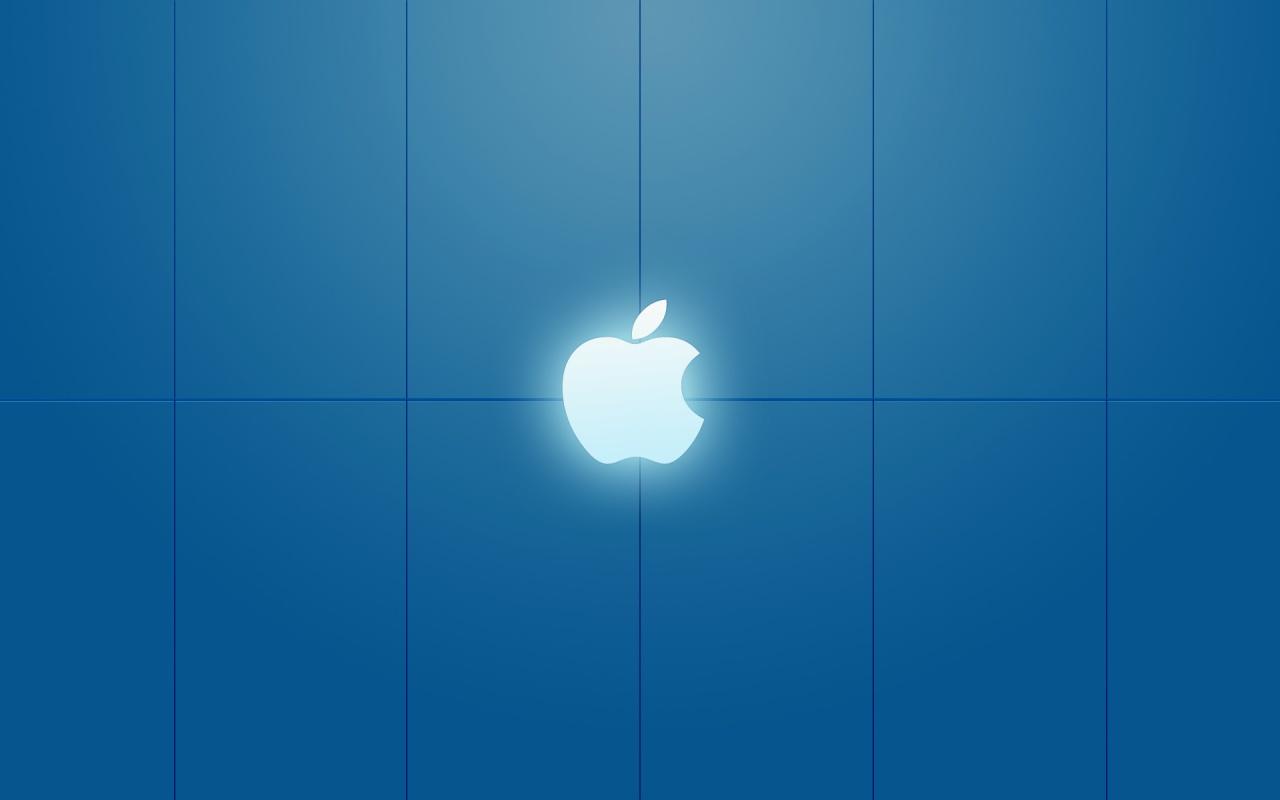 all desktop's wallpapers: apple white light over blue background