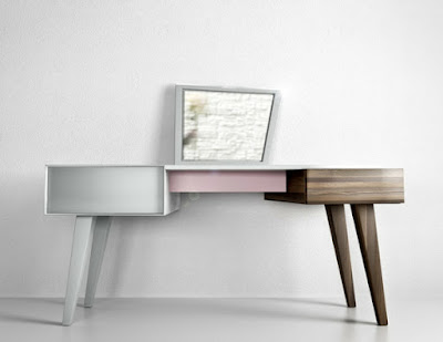 modern wooden dressing table design in white pink wooden colors
