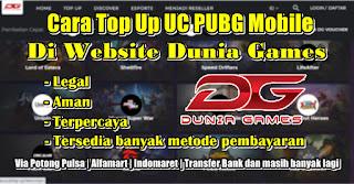 Cara Top Up UC PUBG Mobile Melalui Website Dunia Games