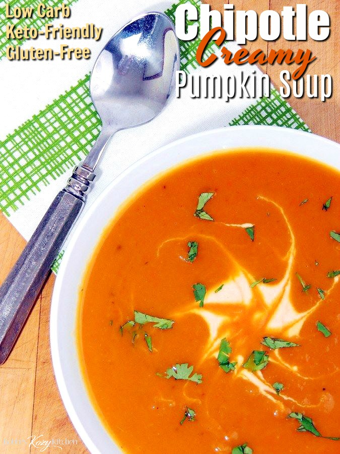 Are you ready to get into the fall mood? This Creamy Chipotle Pumpkin Soup recipe is rich, earthy, and spicy, as well as being low carb and keto-friendly. It is guaranteed to warm you from top to bottom! #lowcarb #keto #pumpkin #soup #easy #recipe | bobbiskozykitchen.com