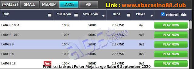 prediksi jackpok poker meja large rabu 9 september 2020