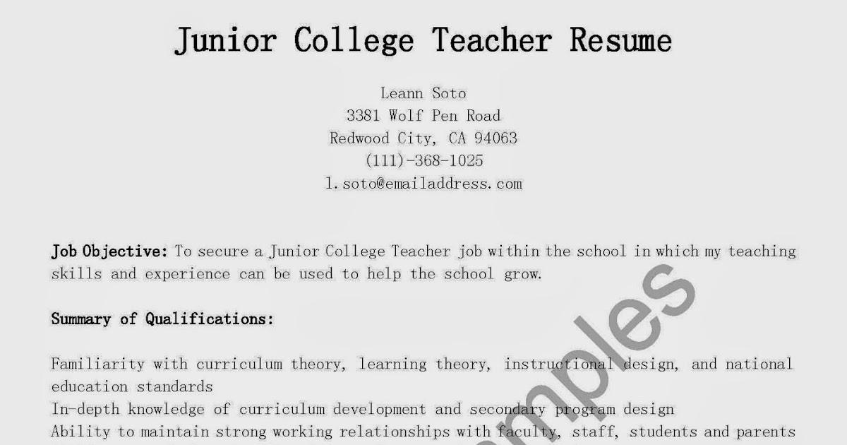 Resume For College Junior - junior lecturer resume