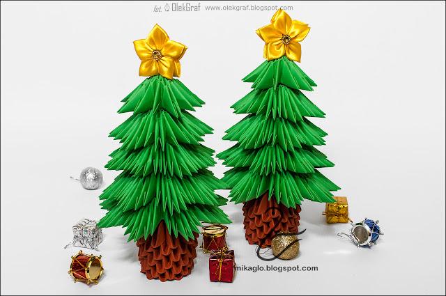 620. Choinki z origami / 3d origami christmas tree