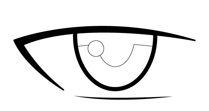 Refleksi mata laki-laki anime