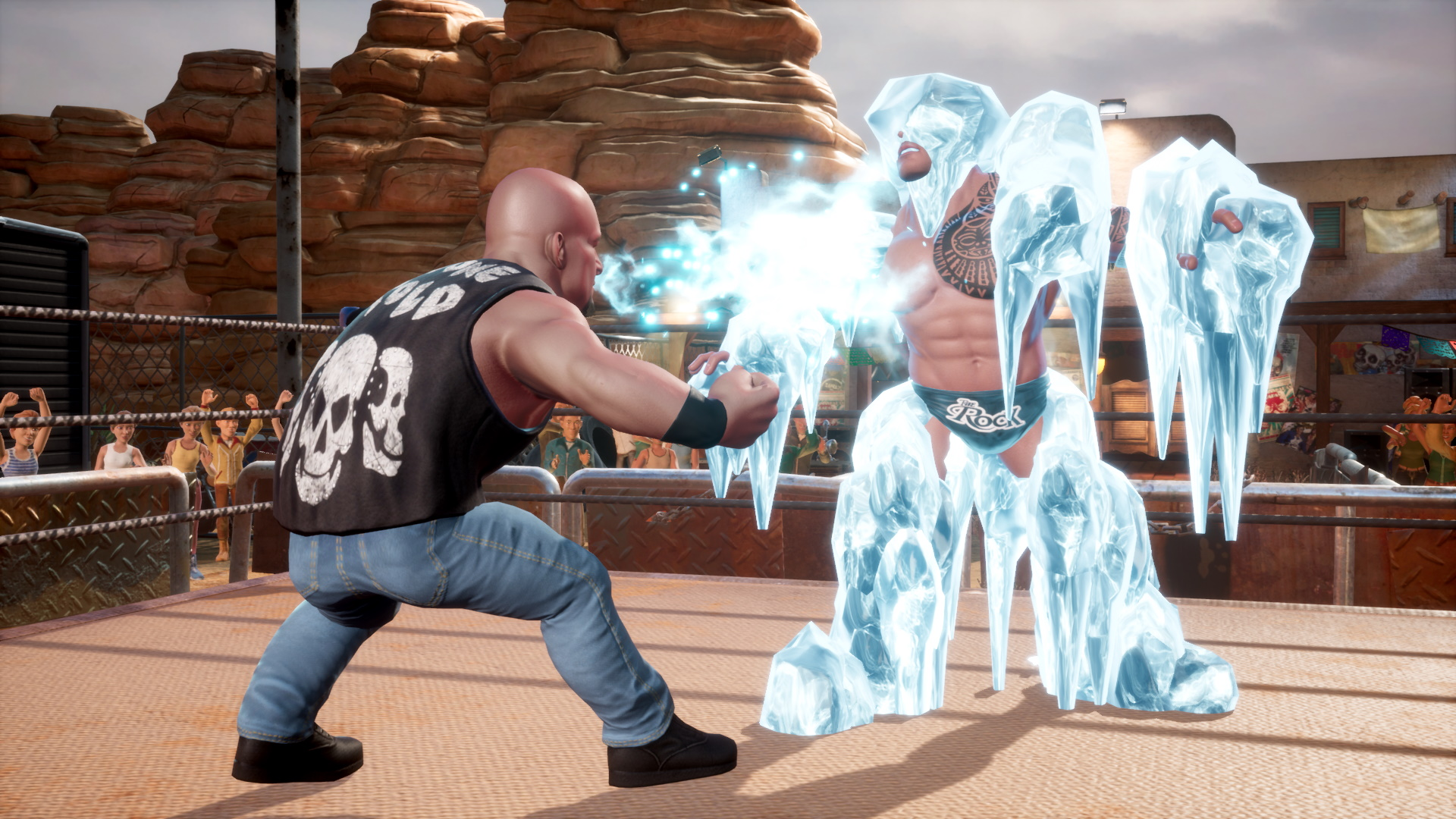 Stone Cold Steve Austin and the Rock on WWE 2K Battlegrounds