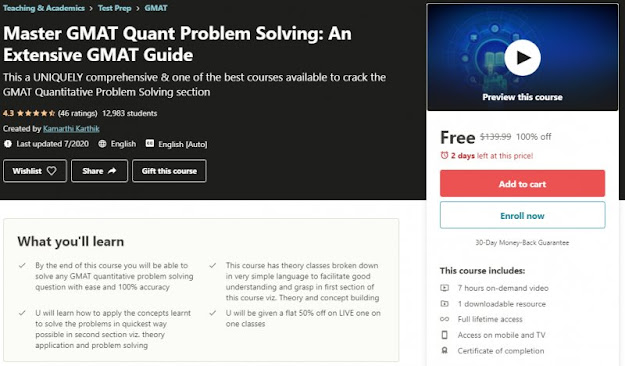 [100% Off] Master GMAT Quant Problem Solving: An Extensive GMAT Guide| Worth 139,99$