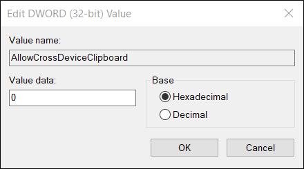 """تأكد من أن بيانات القيمة لها هي """"0"""" قبل النقر فوق """"حسنًا""""."""