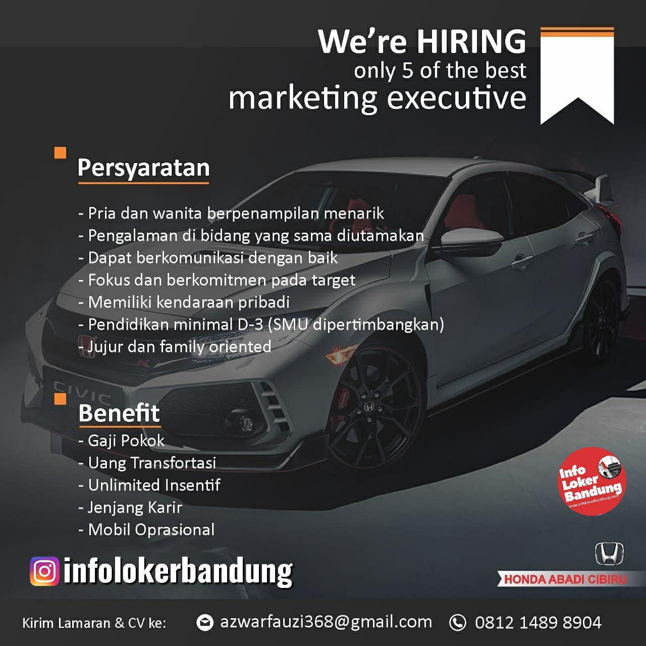 Lowongan Kerja Marketing Executive Honda Abadi Cibiru Bandung Agustus 2019