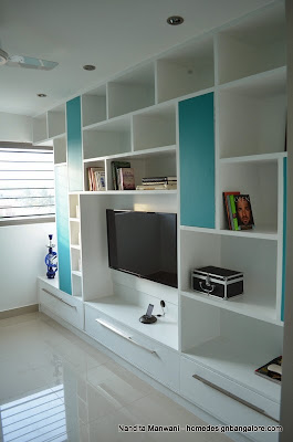 White and Green Book Rack and TV Unit
