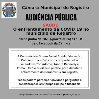 Audiência Pública debaterá sobre o enfrentamento da COVID 19 em Registro-SP