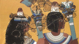 Two figures wearing head cones in a wall painting from Akhetaten, Egypt