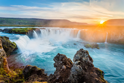 Stunning Godafoss waterfall at sunset