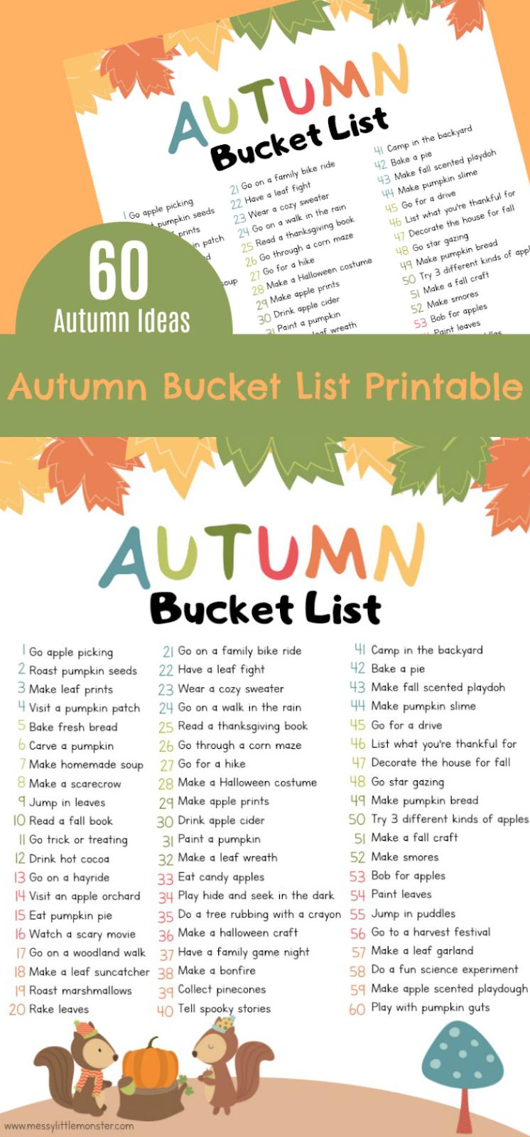 Free printable Autumn bucket list for kids.