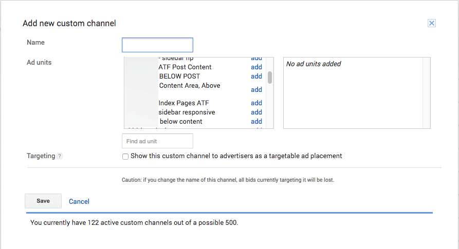 adsense add custom channel