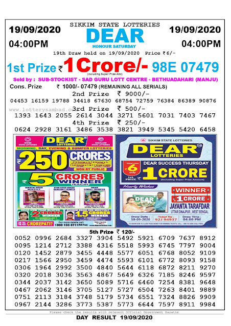 Sikkim State Lottery Sambad 19-09-2020 Today Result 4 PM