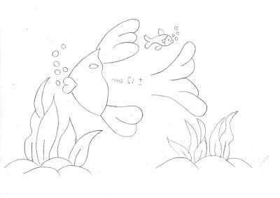 risco de peixe com algas para pintar