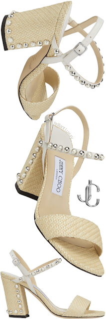 Jimmy Choo Aadra natural raffia sandals with silver dome studs and white pearls #brilliantluxury