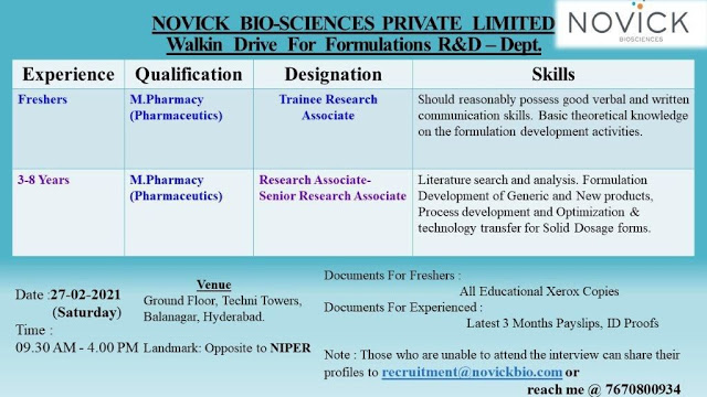 Novick Biosciences | Walk-in for Freshers and Expd in FR&D on 27th Feb 2021