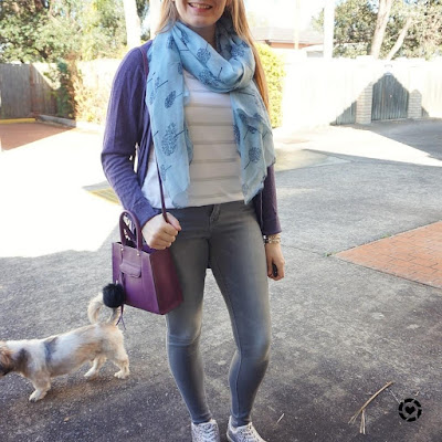 awayfromblue instagram | saturday style glitter shoes grey skinny jeans silver foil stripe tee purple cardigan mini MAB tote