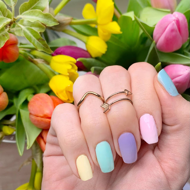 rainbow-pastel-nails-Revlon-buttercup-Rimmel-Wilderness-Barry-M-Sugar-Apple-Models-Own-Pink-Veneer-Nails-inc-Royal-Botanical