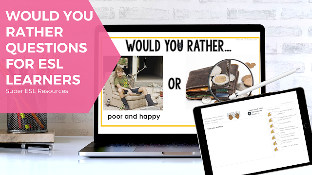 This resource includes Would You Rather questions PPT / Powerpoint and a writing activity in Google Slides which can be used in printable form or in distance learning to be used in ESL or writing and conversation classes.