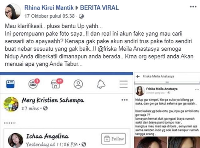 Foto Rhina Kirei Mantik Dicuri Friska Meila Anatasya - FB