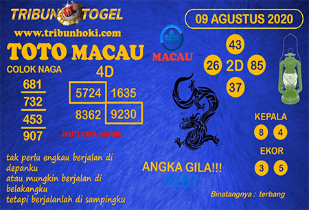 Prediksi Tribun Togel Macau Minggu 09 Agustus 2020