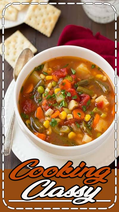 "Vegetable Soup - ""100x better than the canned stuff! This soup is amazing, I had 3 bowls!"" I'm on a soup kick and this sounds delicious."