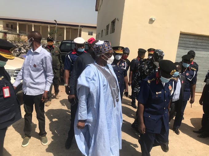 NSCDC CG Abdullahi Gana Receives Perm Sec Of Interior Ministry To Inspect New Covid-19 Test Center And Patrol Vehicles