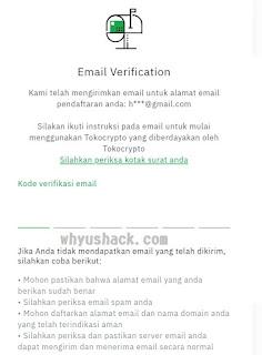 Verifikasi email Tokocrypto
