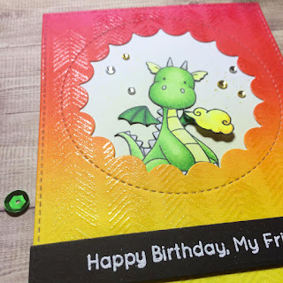 MFT magical dragons birthdaycard with arrow ends background stamp and peek a boo window and shiny clear embossing