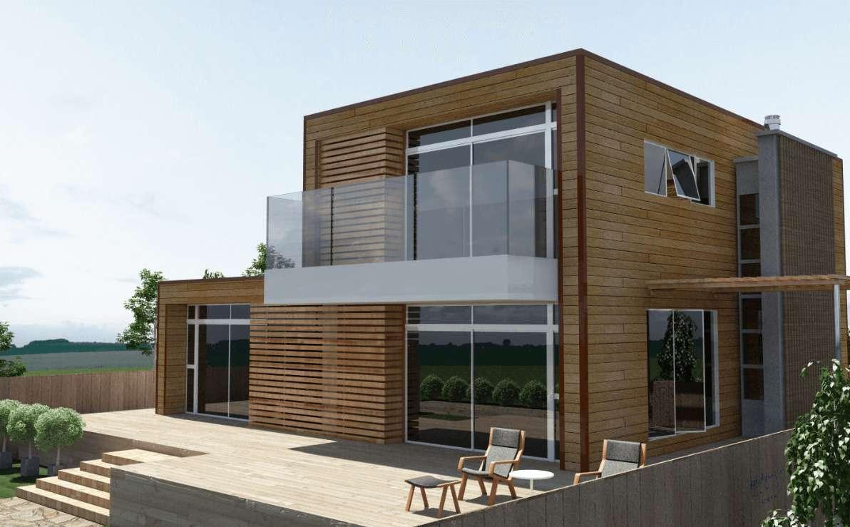 Ide Model Desain Rumah Kontemporer 2 Lantai dengan Material Dinding Kayu dan Kaca