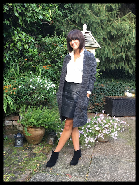 My Midlife Fashion, Zara Oversized Cardigan, A Line Faux Leather Skirt, H and M Ruffle Blouse, Mango Ankle Boots