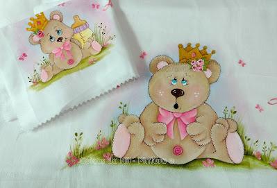 kit de fraldas com pintura de ursinha princesa
